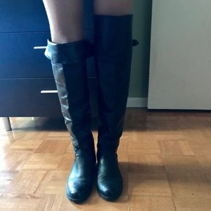 Over the Knee Black Leather Boots